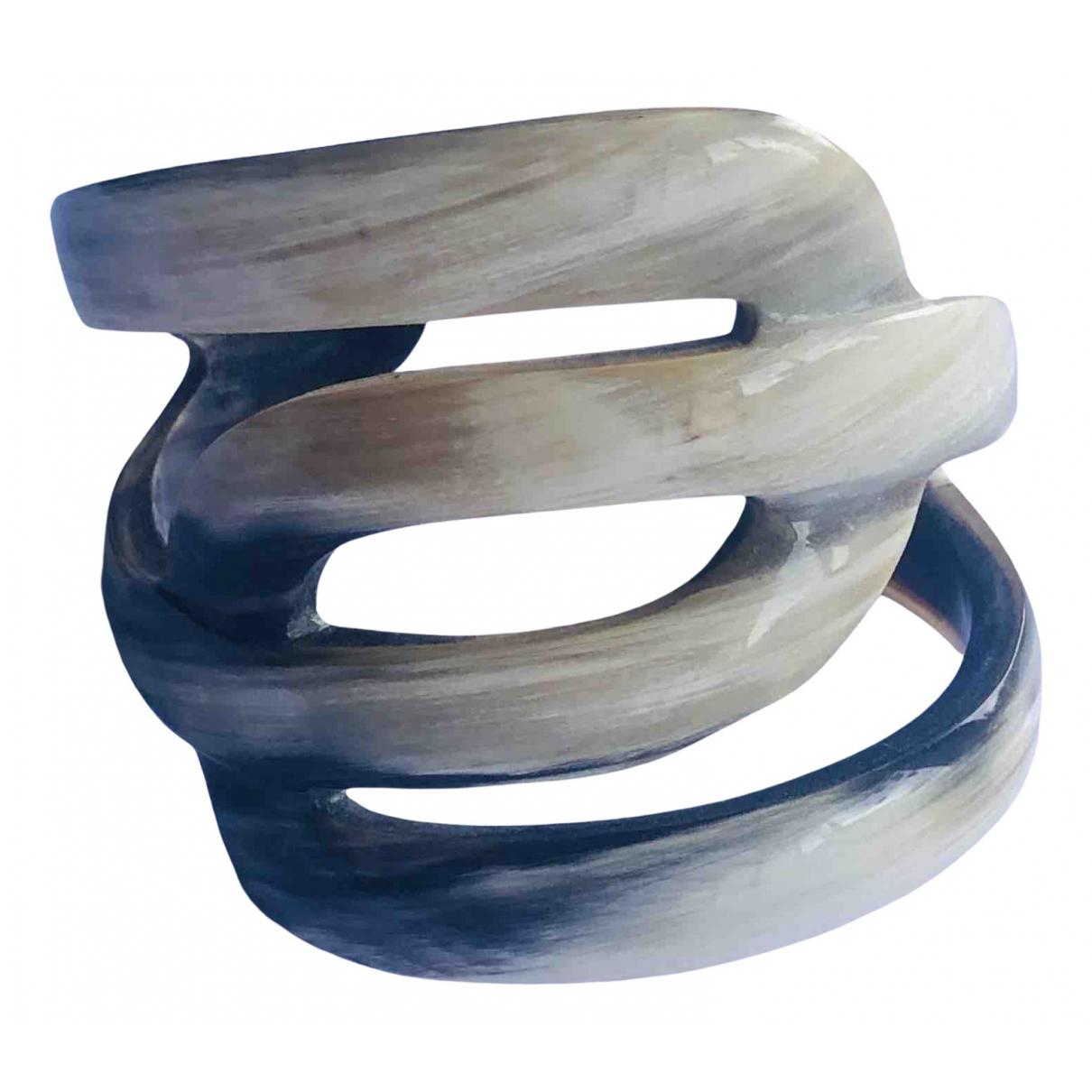 Non Signe / Unsigned Manchette Armband in  Ecru Horn