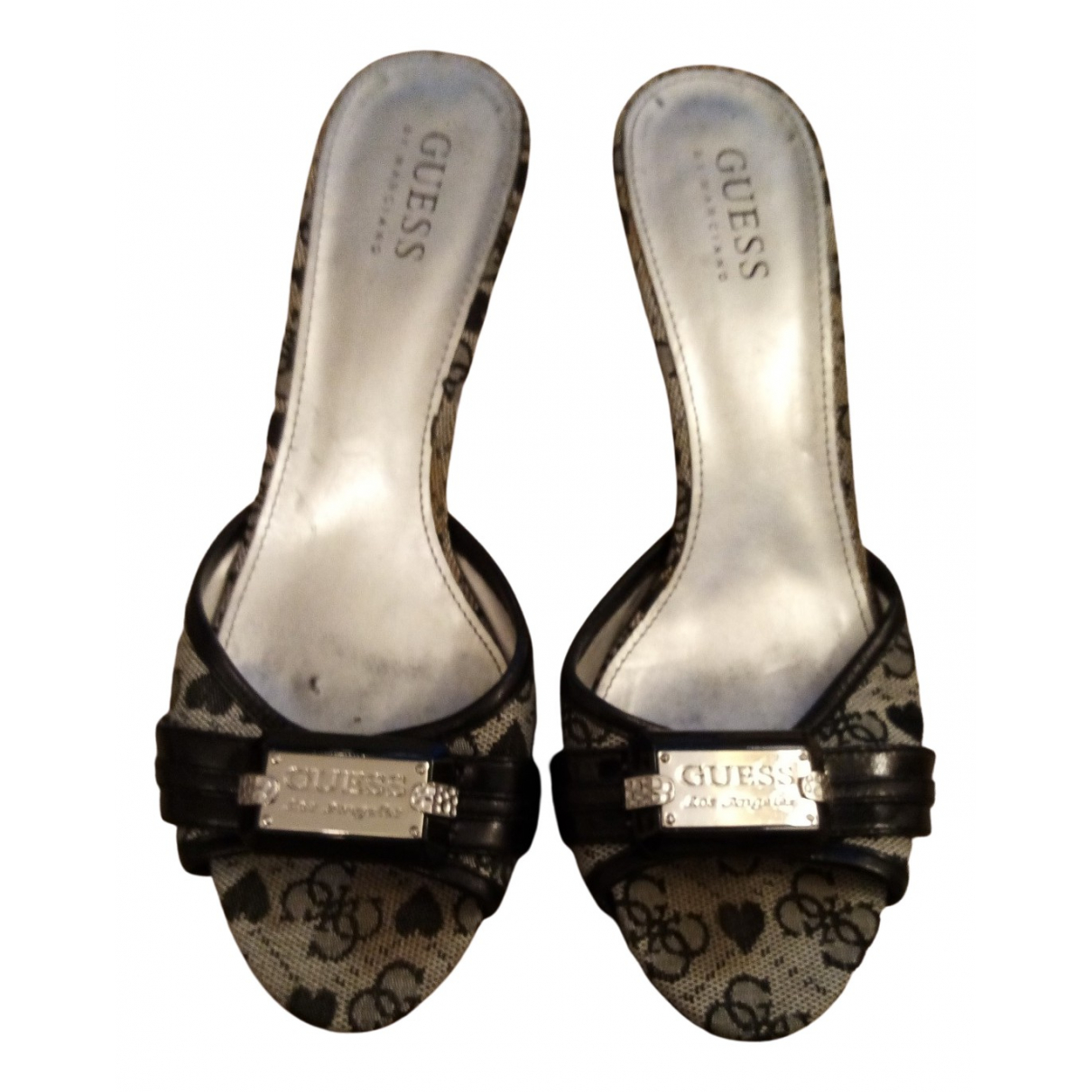 Guess N Black Cloth Sandals for Women 37 EU