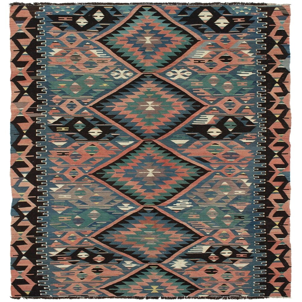 ECARPETGALLERY Flat-weave Sivas Dark Copper, Turquoise Wool Kilim - 5'0 x 9'4 (Dark Copper/ Turquoise - 5'0 x 9'4)