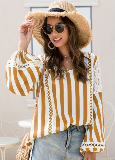 Stripe Print Long Sleeve Lace Panel Blouse - XL