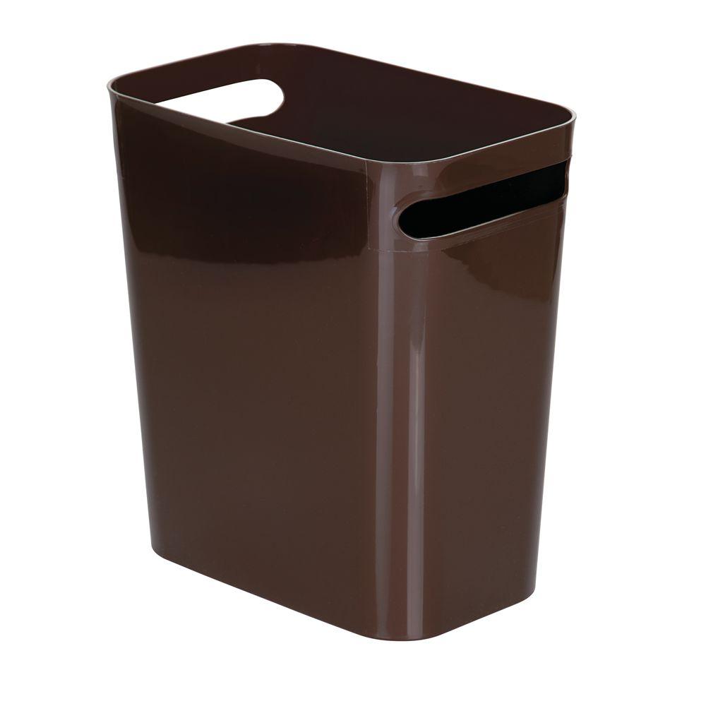Small Plastic Slim Trash Can Garbage Bin, 12 High in Dark Brown, 11 x 6.5 x 12, by mDesign
