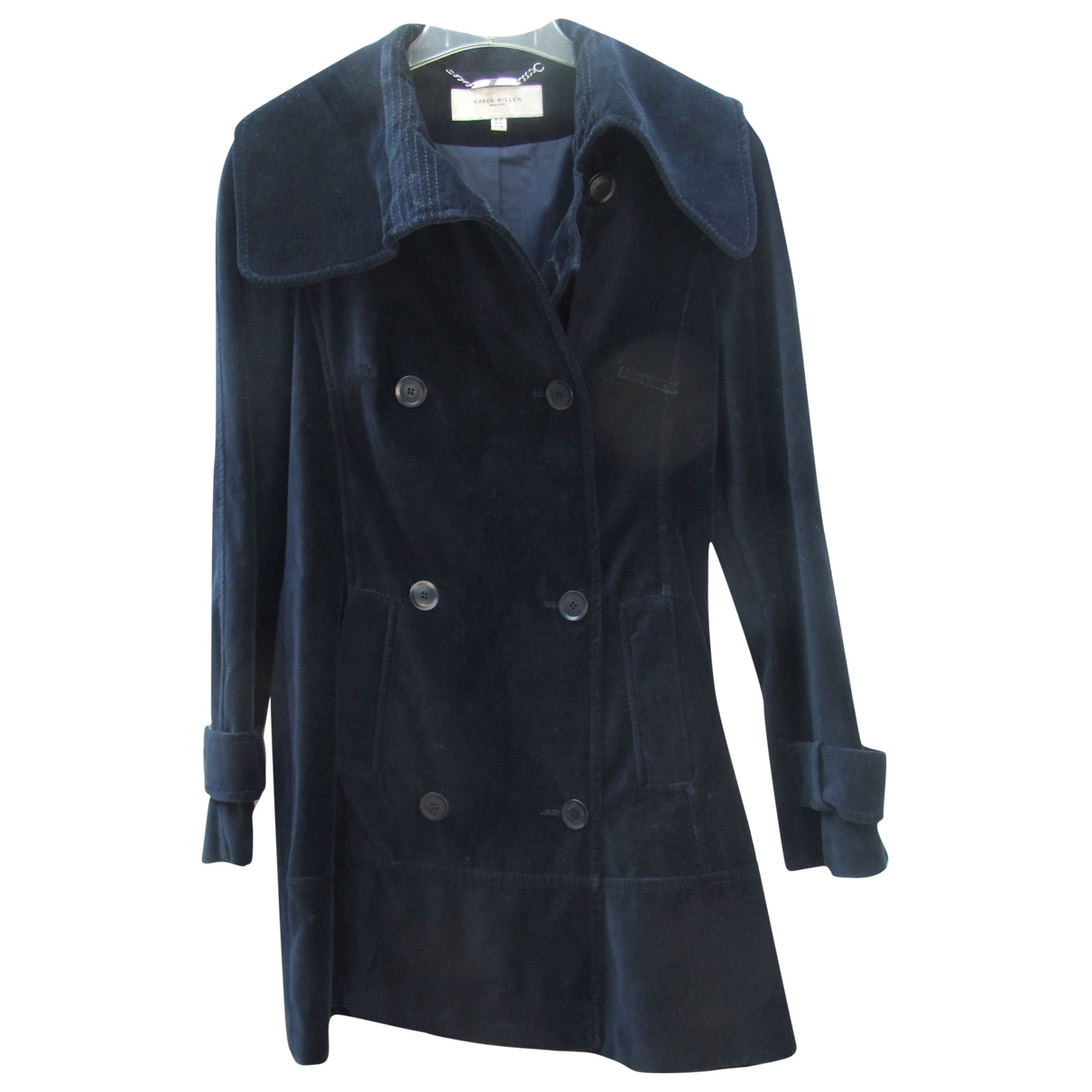 Karen Millen - Manteau   pour femme en velours - bleu