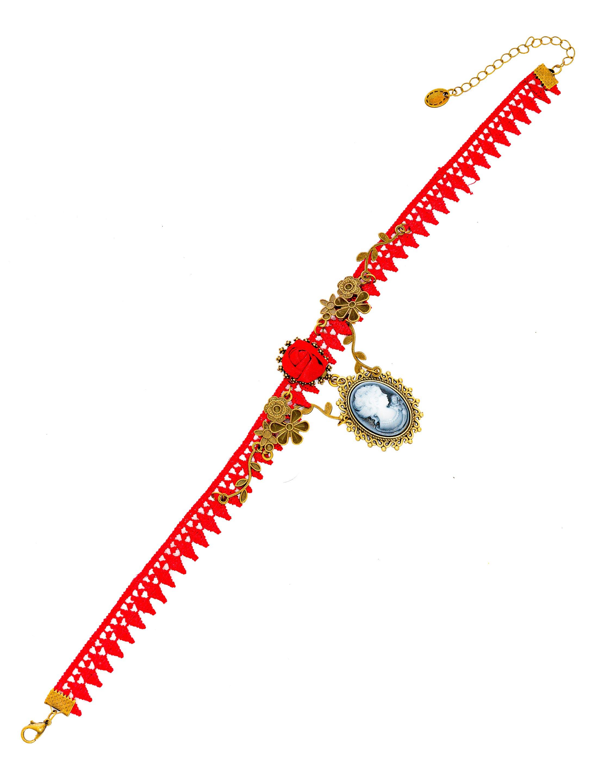 Kostuemzubehor Halsband mit Rose und Anhaenger Farbe: rot/grau