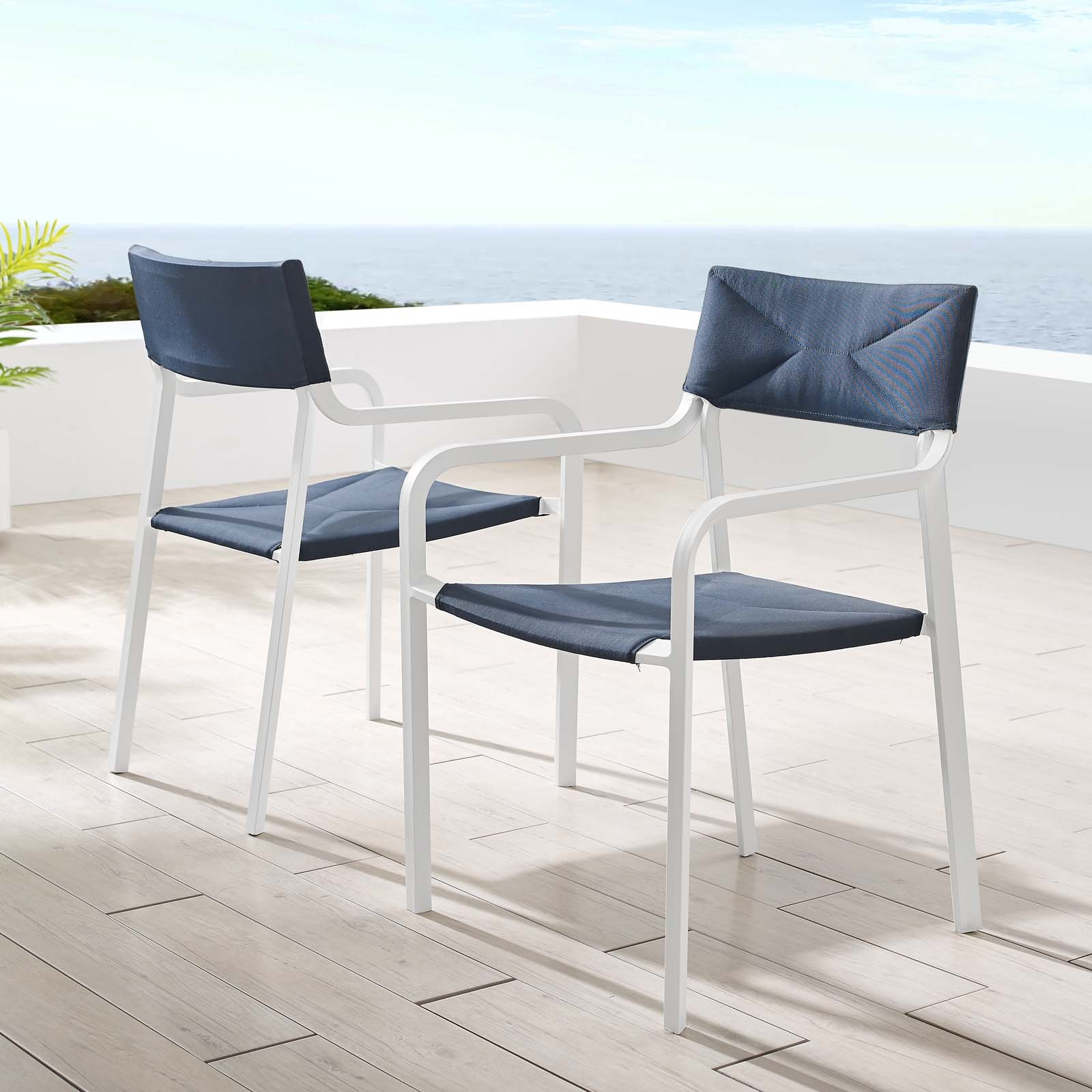 Raleigh Outdoor Patio Aluminum Armchair Set of 2 in White Navy