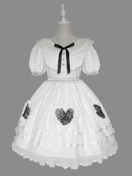 Milanoo Sweet Lolita OP Dress Ruffles Short Sleeves Lolita One Piece Dresses