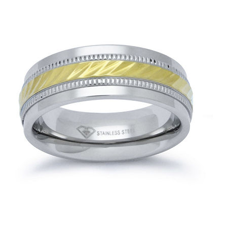 Personalized Mens 8mm Two-Tone Stainless Steel Wedding Band, 13 1/2 , No Color Family
