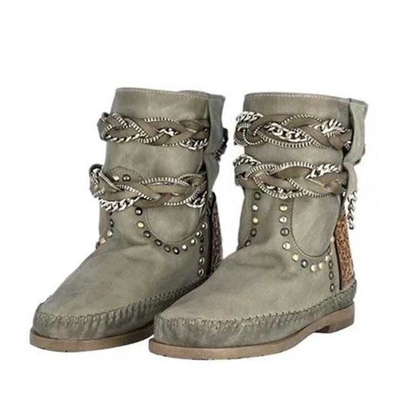 Ericdress Slip-On Round Toe Block Heel Cotton Boots