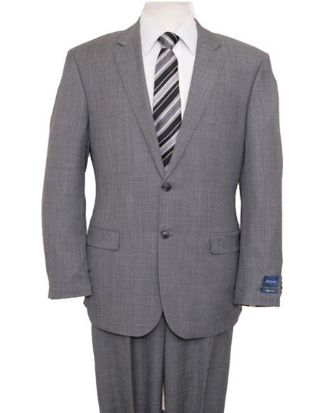 Men's Light Gray Single Breasted Notch Lapel Suit Flat Front Pant