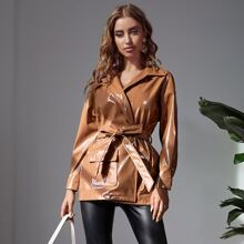 Drop Shoulder Flap Pocket Belted PU Leather Coat