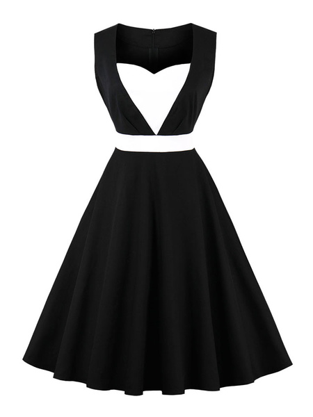 Milanoo Black Vintage Dress Women Sweetheart Neck Sleeveless A Line Little Black Dresses