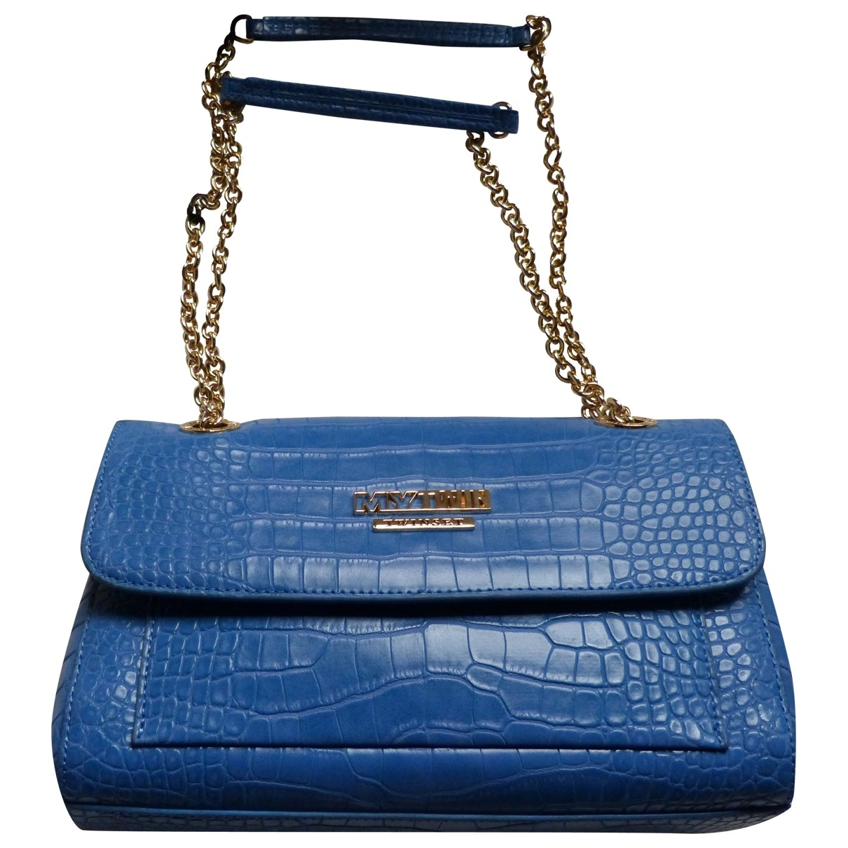 Twin Set \N Clutch in  Blau Leder