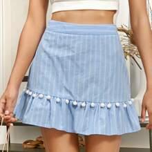 Ruffle Hem Pompom Detail Striped Skirt