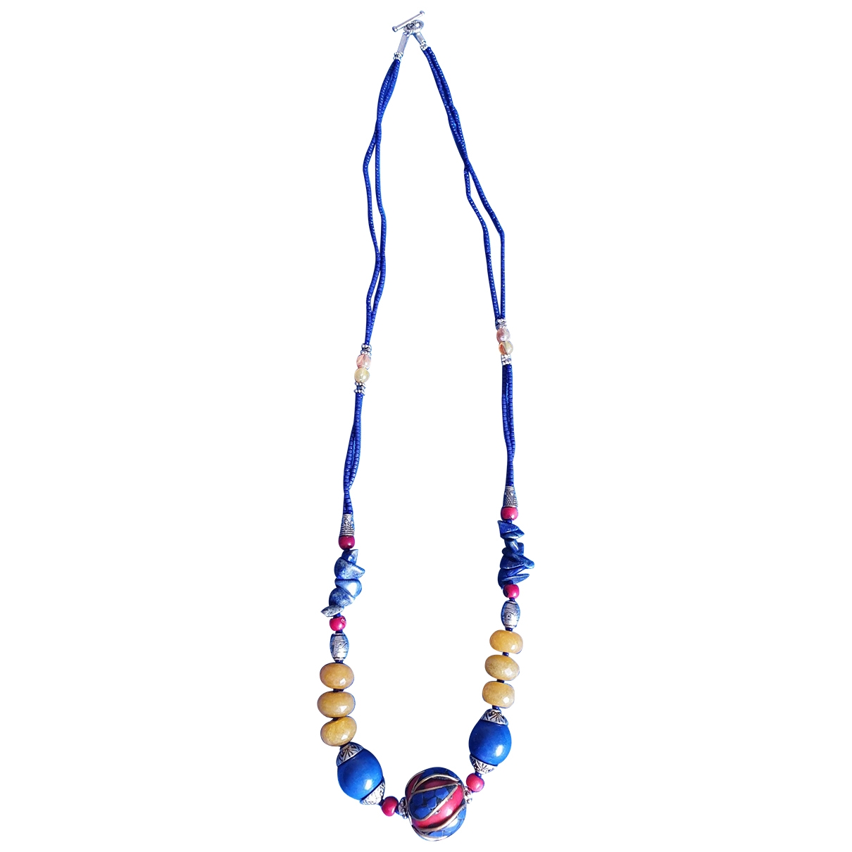 Non Signé / Unsigned Motifs Ethniques Blue Silver necklace for Women \N