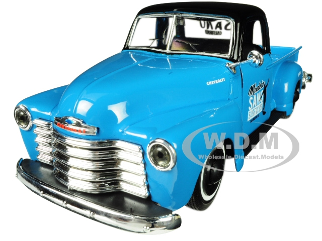 1950 Chevrolet 3100 Pickup Truck Blue with Black Top Madero Sano Surf Club Outlaws 1/25 Diecast Model Car by Maisto