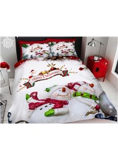 Christmas Bedding 3D Snowman Printed 4-Piece Polyester Bedding Sets/Duvet Covers