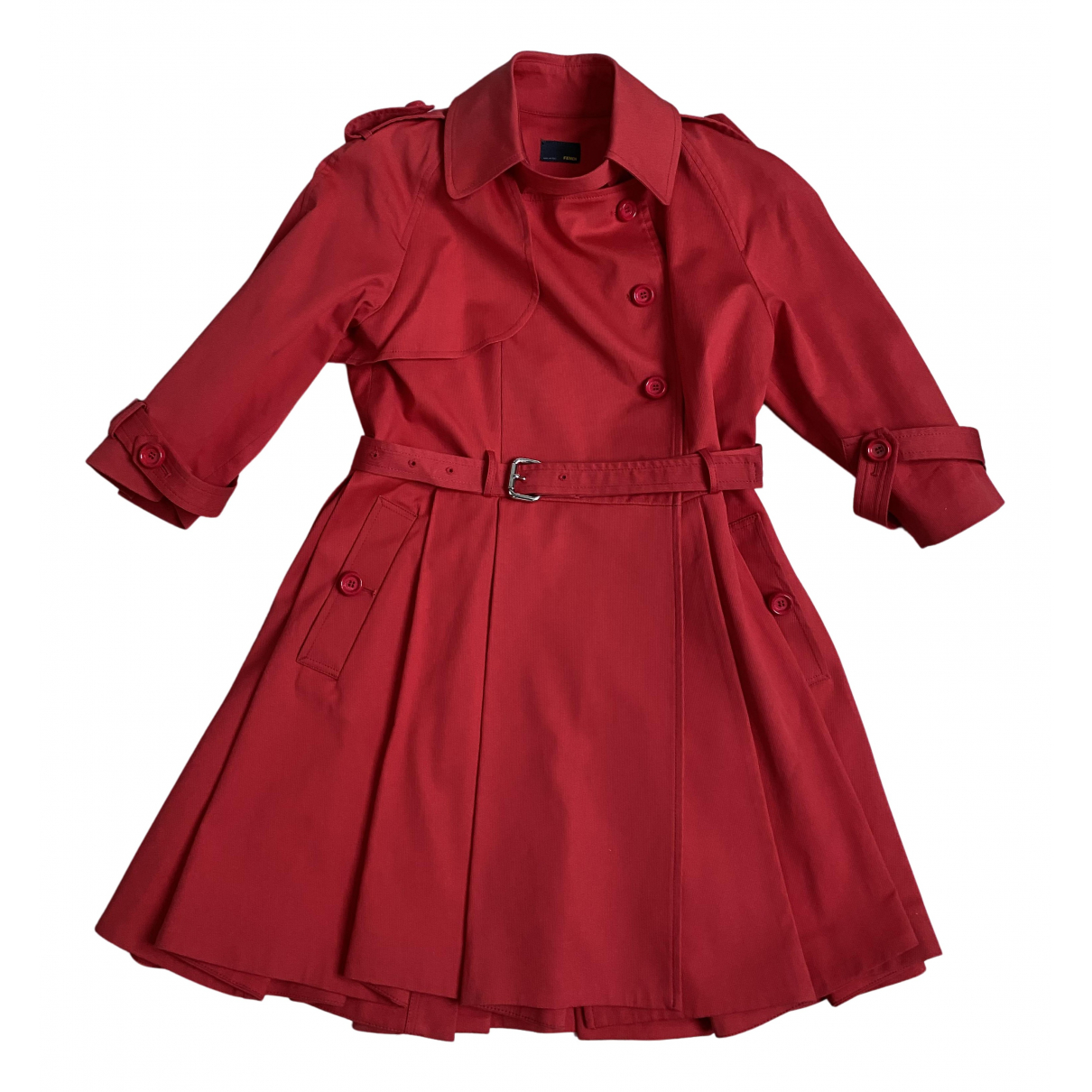 Fendi N Red Cotton Trench coat for Women 42 IT