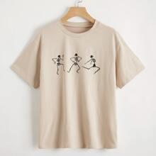 Camiseta de hombros caidos con estampado de esqueleto
