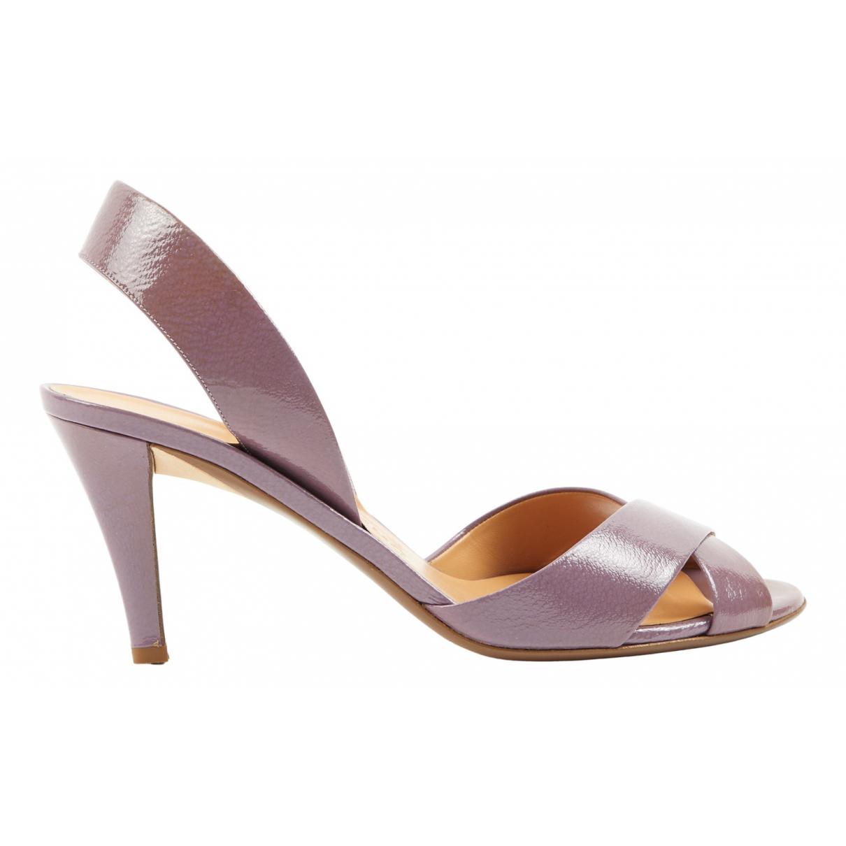 Salvatore Ferragamo N Purple Leather Sandals for Women 8.5 US