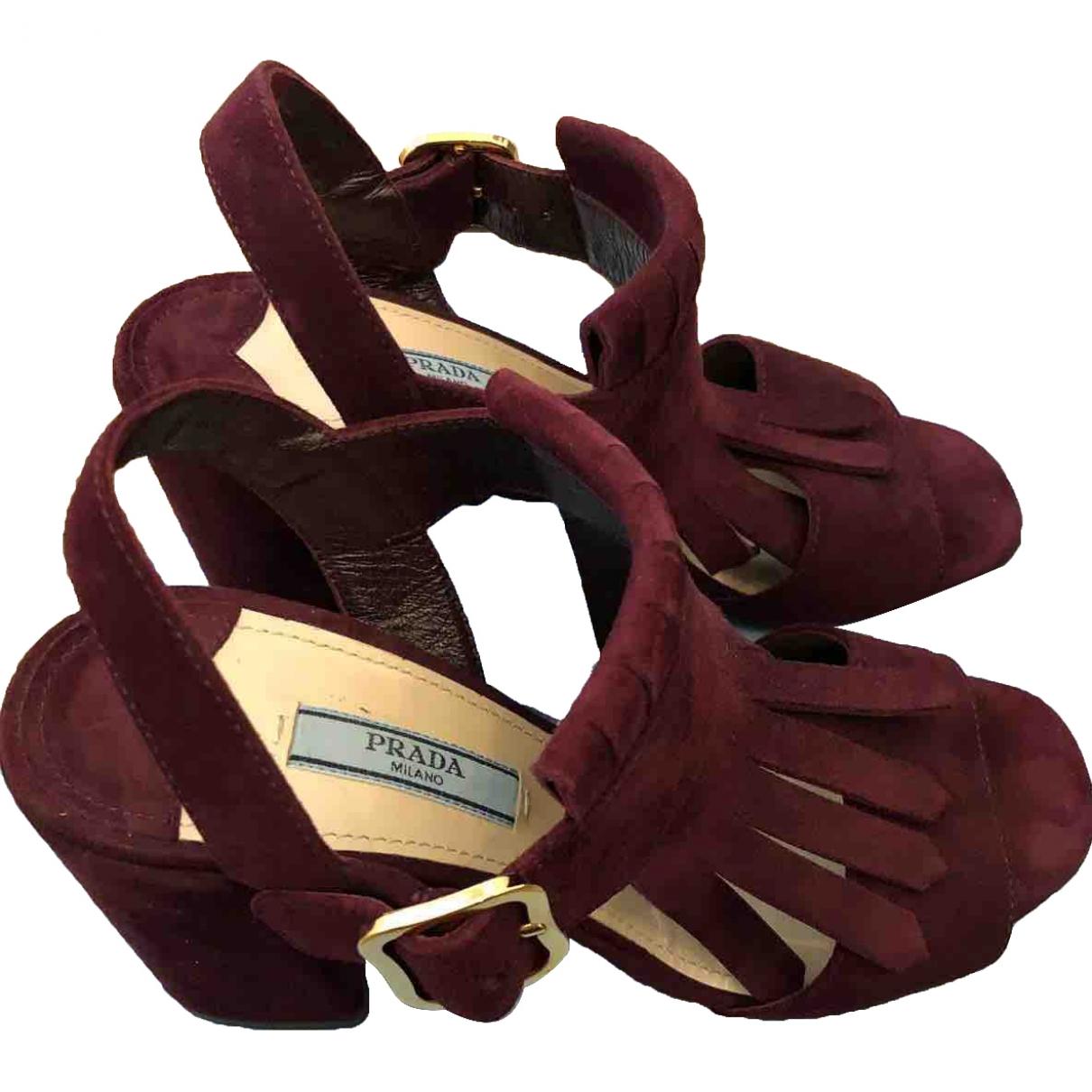 Prada \N Burgundy Suede Sandals for Women 36 EU
