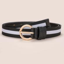 Cinturon de cinta con patron de rayas