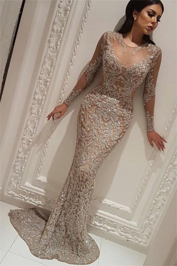 Langarm prickelnde Ballkleider Guenstige 2021 | Sexy Meerjungfrau Perlen Abendkleider mit Nude Futter BC0528