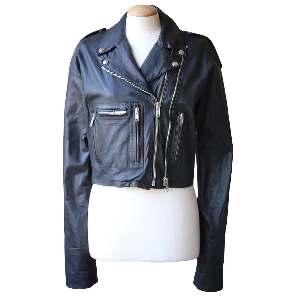 R13 - Veste   pour femme en cuir - noir