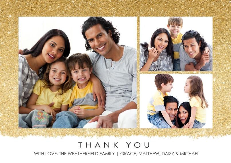 Thank You Cards Flat Matte Photo Paper Cards with Envelopes, 5x7, Card & Stationery -Thank You Glitter by Tumbalina