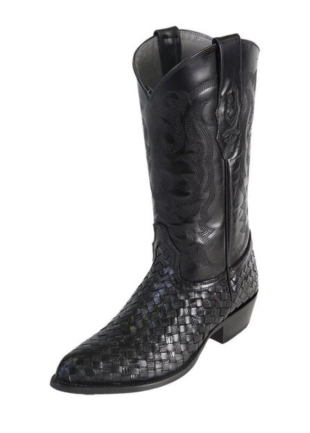 Men's J Toe Black Los Altos Weave Teju Lizard Boots Handcrafted