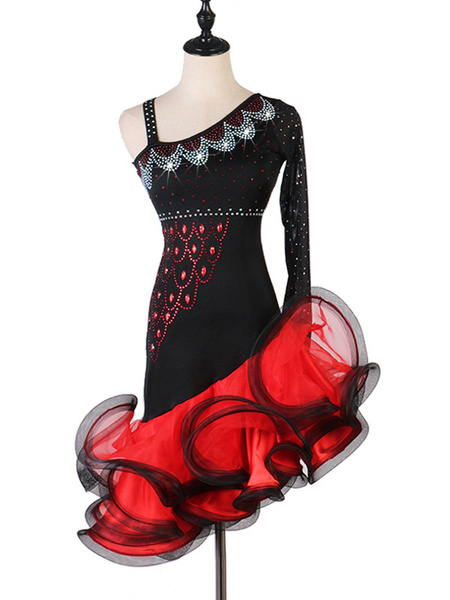 Milanoo Dance Wears Latin Dresses Rhinestone Ruffle Black Dancing Costumes Halloween