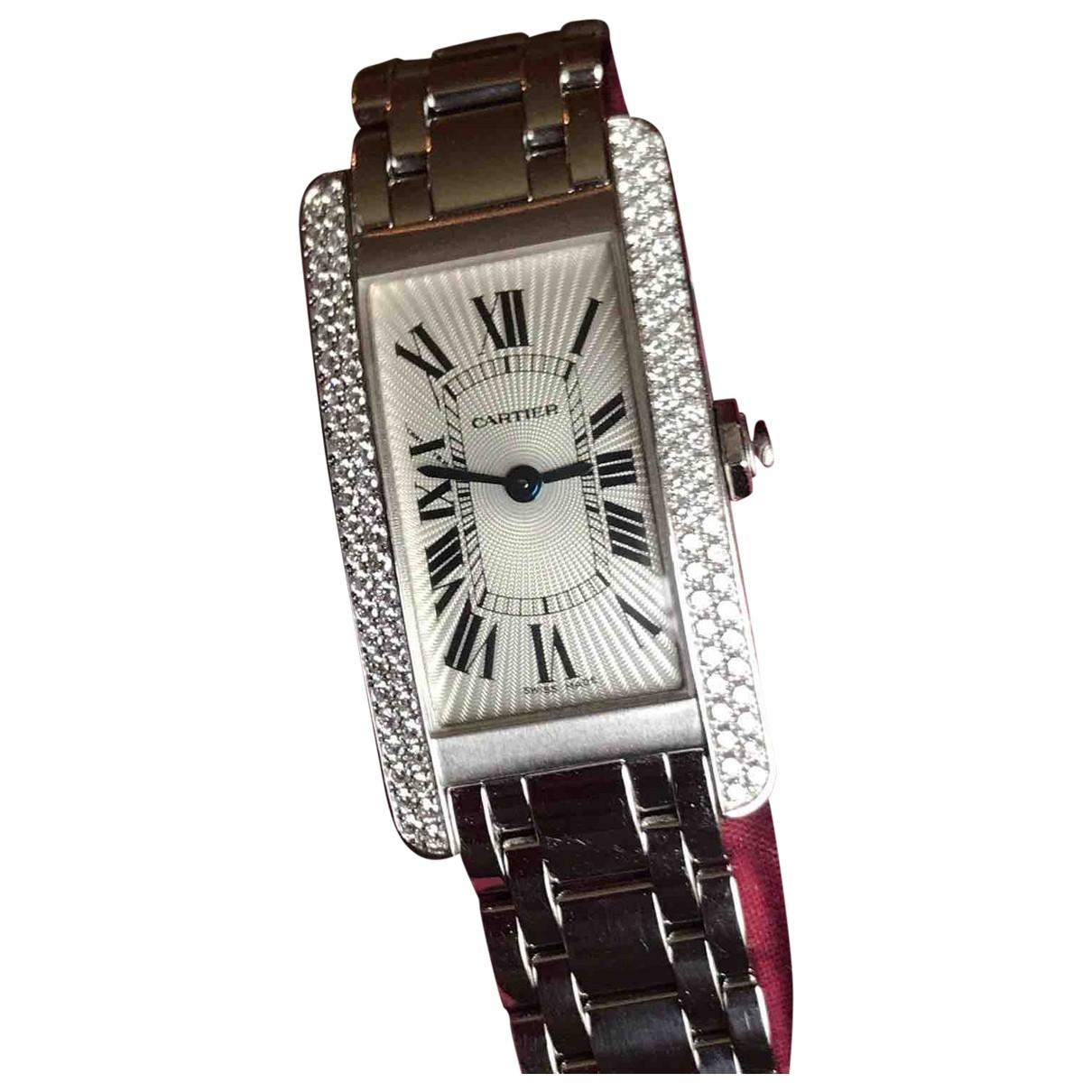 Cartier Tank Americaine Uhr in  Weiss Weissgold