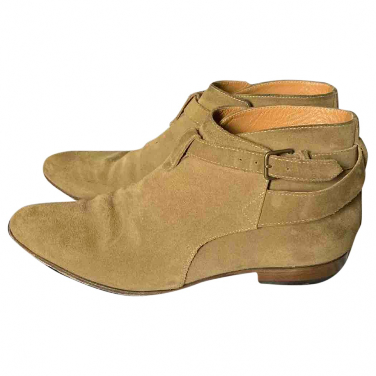 Saint Laurent - Boots   pour femme en suede - beige