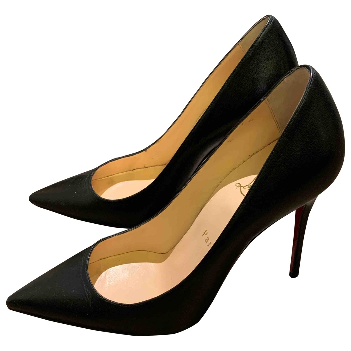 Christian Louboutin Pigalle Black Leather Heels for Women 36 EU