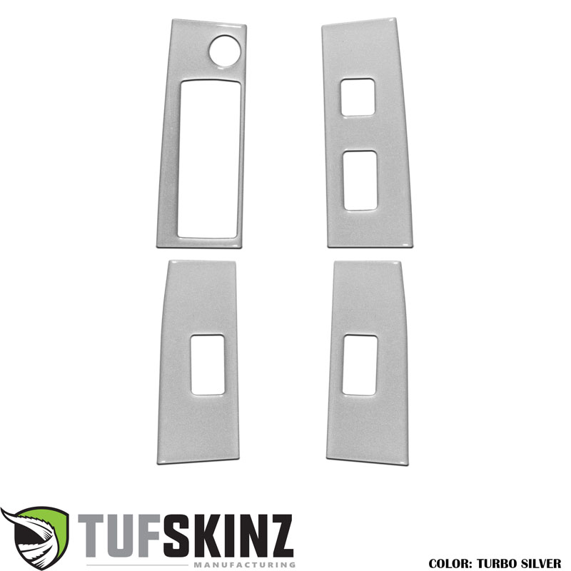 Tufskinz TAC028-GTO-G Door Switch Panel Accents Fits 16-up Toyota Tacoma 4 Piece Kit Turbo Silver Similar to Silver Sky