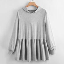 Plus Ruffle Hem Raglan Sleeve Hooded Sweatshirt