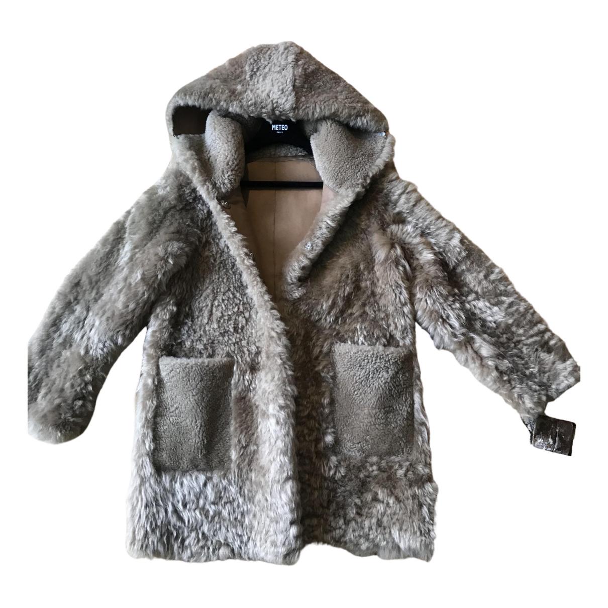 Meteo - Manteau   pour femme en agneau de mongolie - beige