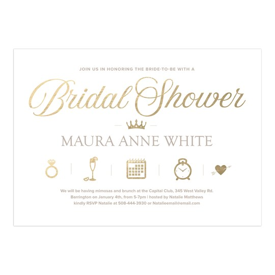 20 Pack of Gartner Studios® Personalized Icons Wedding Bridal Shower Invitation in Gold | 5
