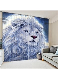 3D White Lion King Printed Thick Polyester Animal Style 2 Panels Custom 3D Curtain