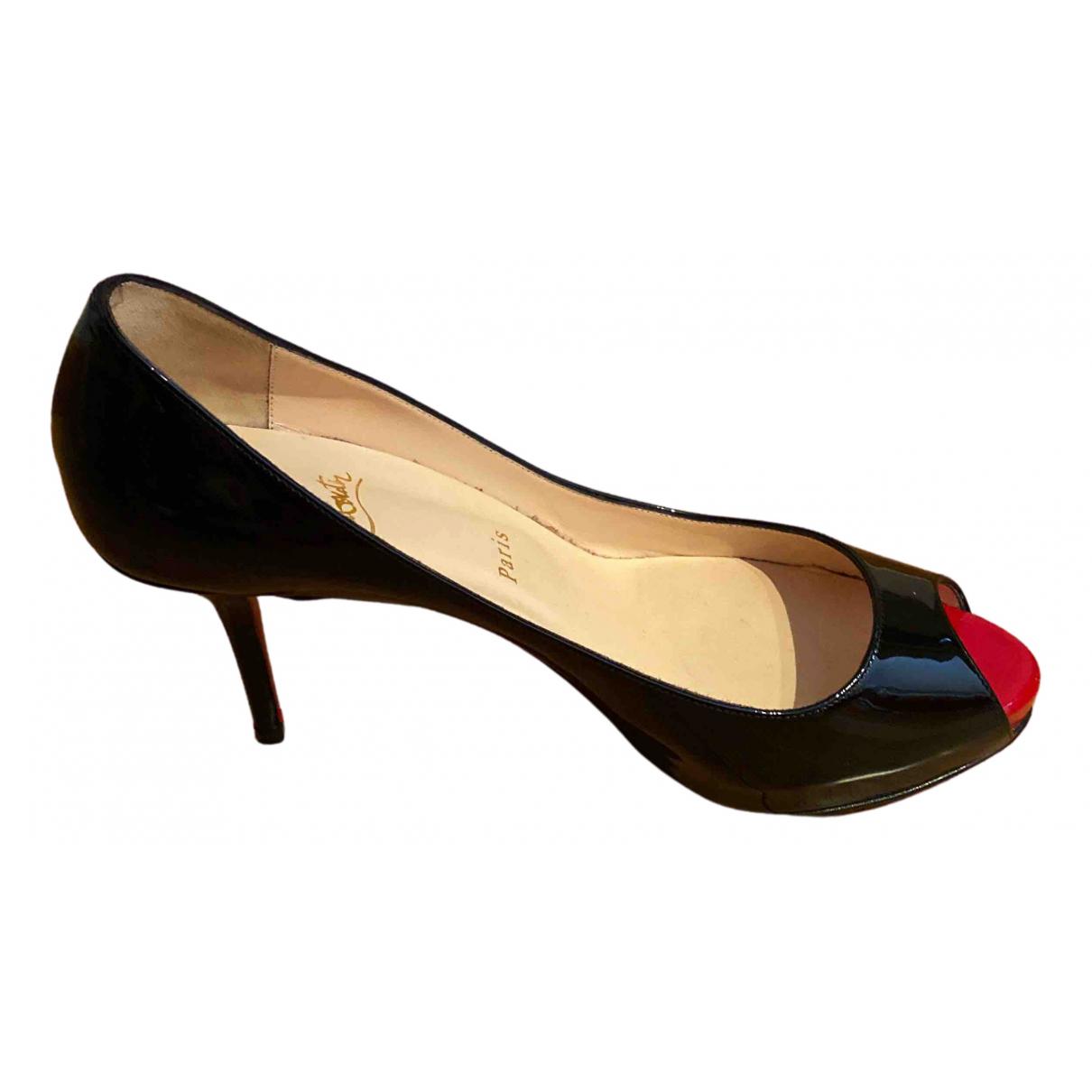 Christian Louboutin Very Privé Black Patent leather Heels for Women 39.5 EU