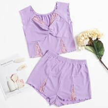 Contrast Lace Ribbed Shorts PJ Set