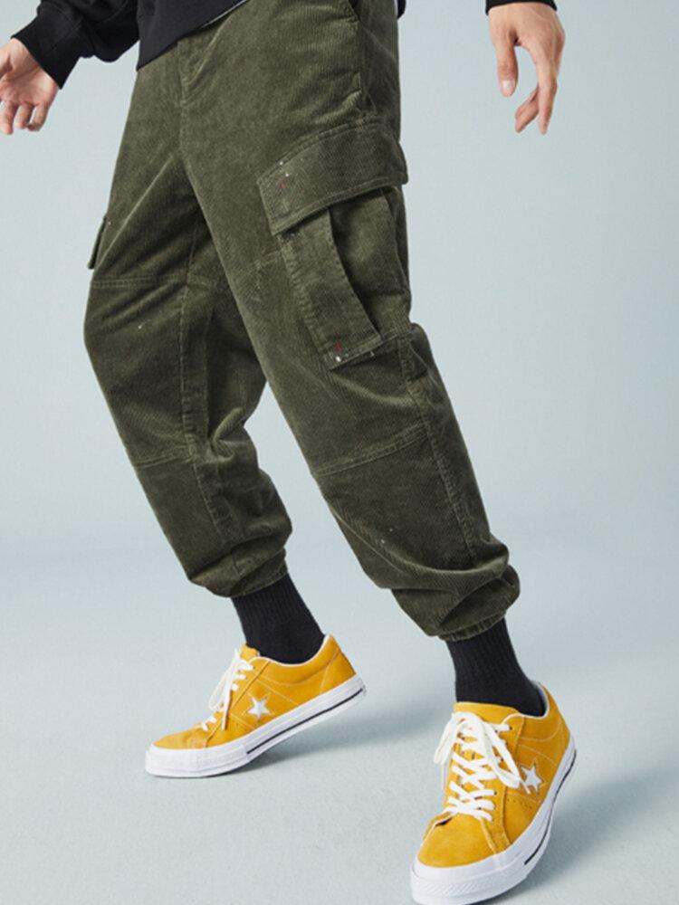 Mens Corduroy Solid Colo Zipper Fly 100% Cotton Utility Jogger Pants