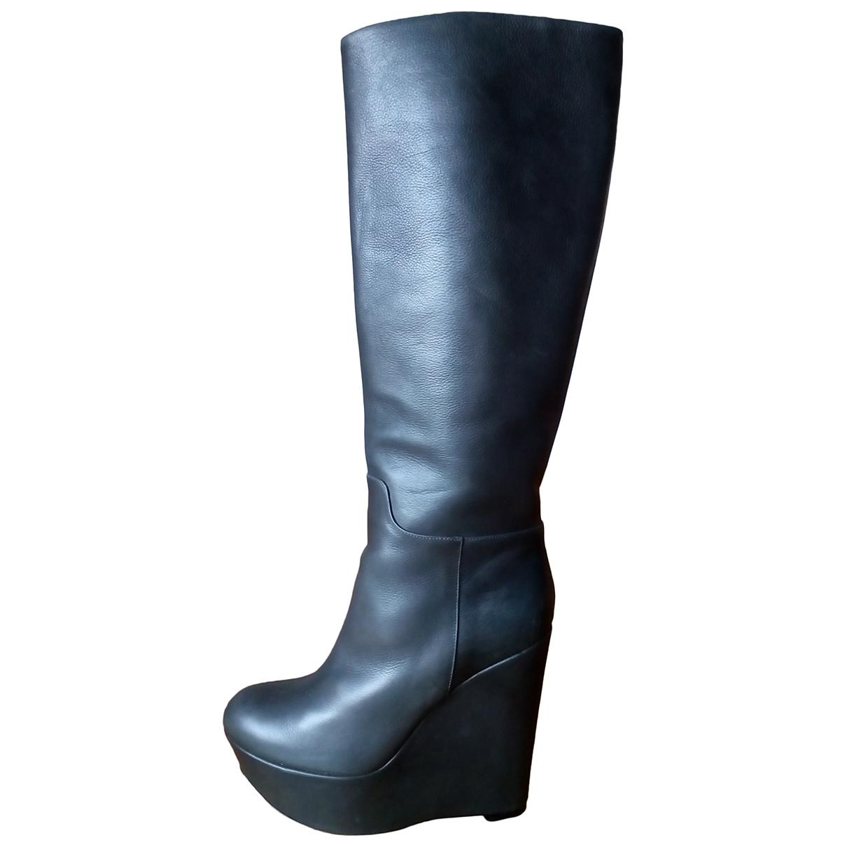 Dolce & Gabbana - Bottes   pour femme en cuir - kaki