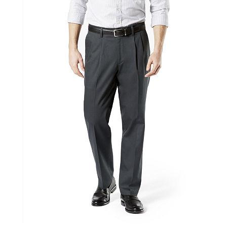 Dockers Men's Classic Fit Signature Khaki Lux Cotton Stretch Pants - Pleated D3, 42 34, Gray