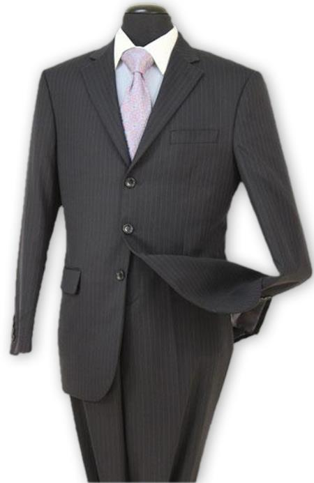 Alberto Nardoni black Stripe 3 button Wool suit Pleated pants