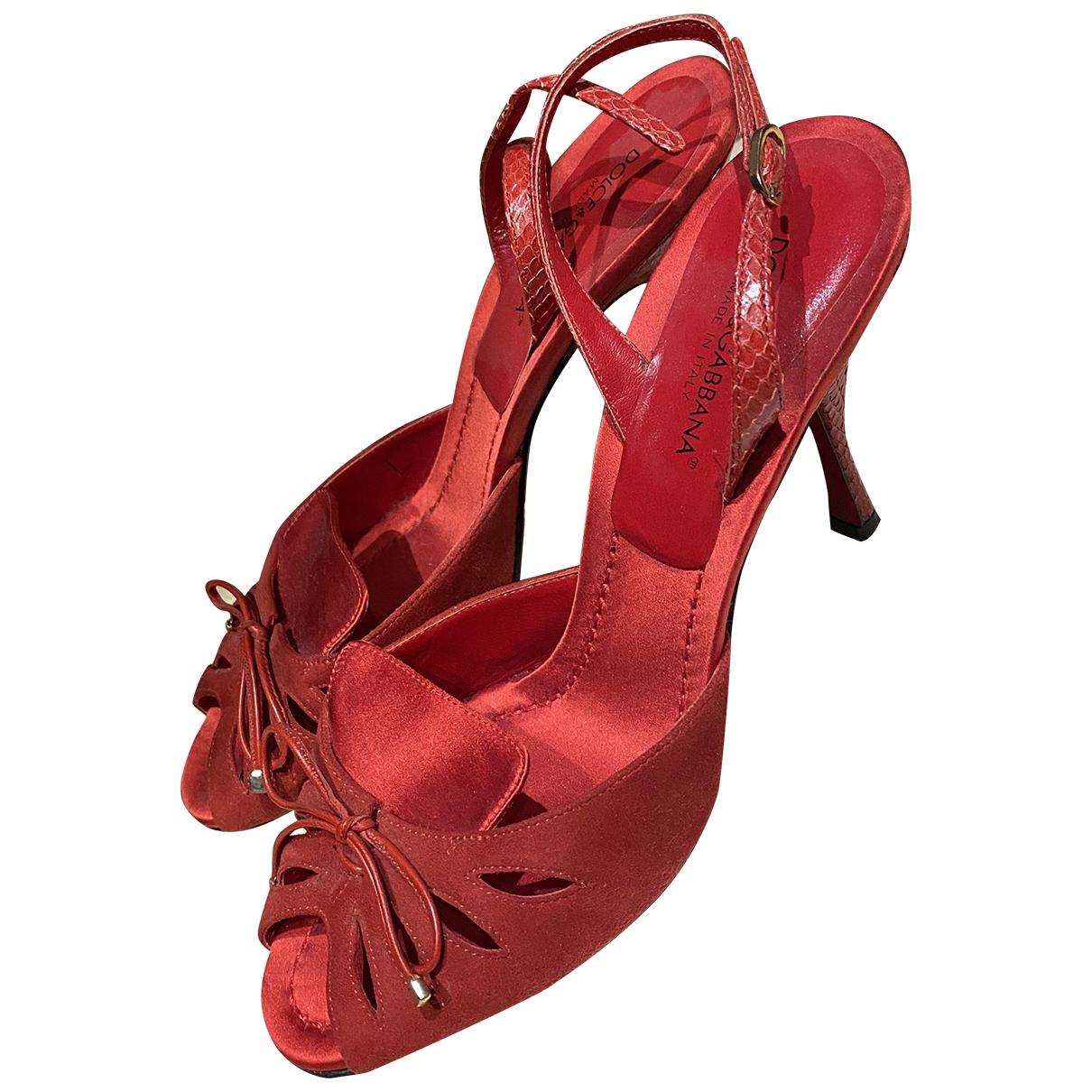 Dolce & Gabbana - Sandales   pour femme en toile - rouge