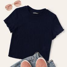 Solid Ribbed Lettuce-Edge Tee