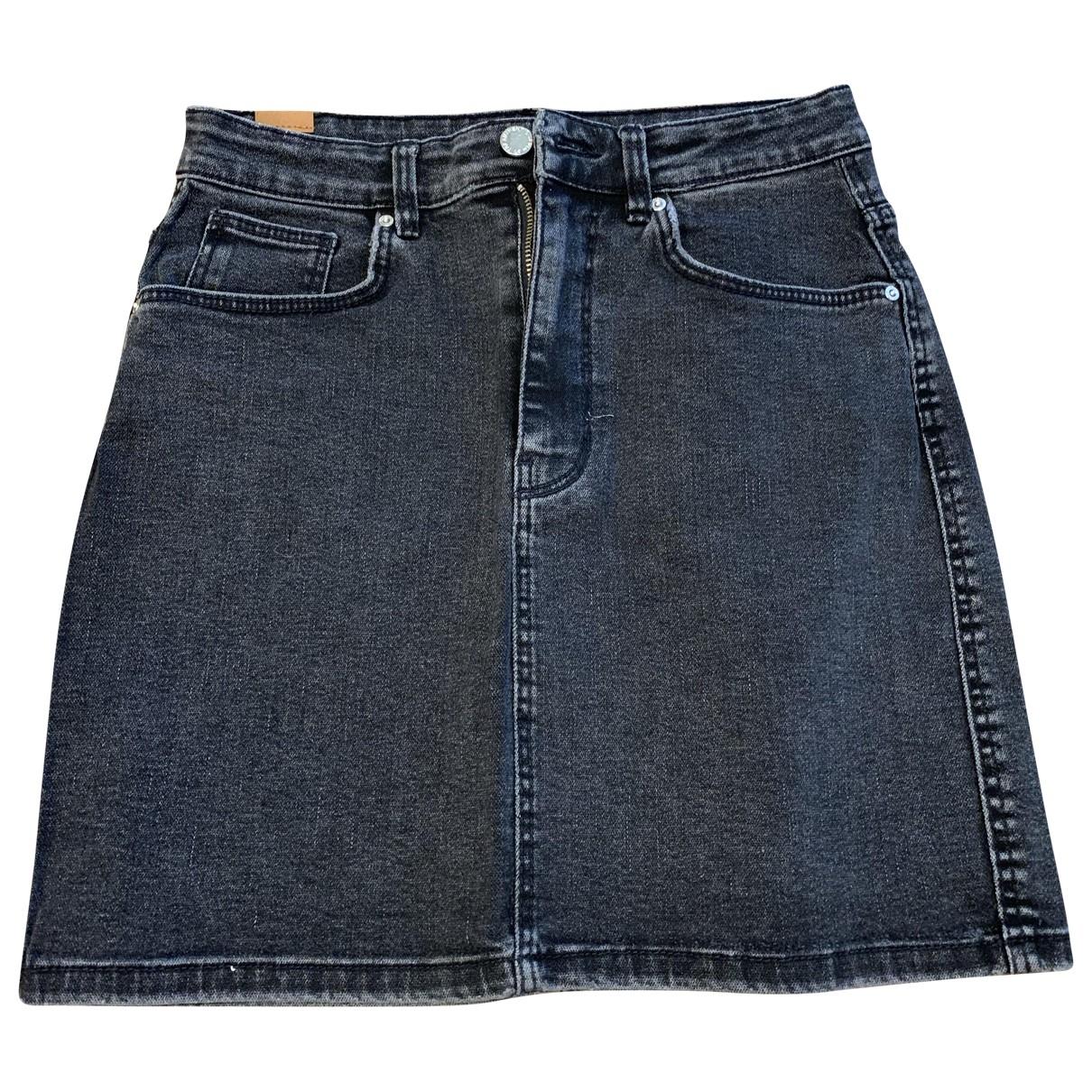 Zara - Jupe   pour femme en coton - elasthane - anthracite