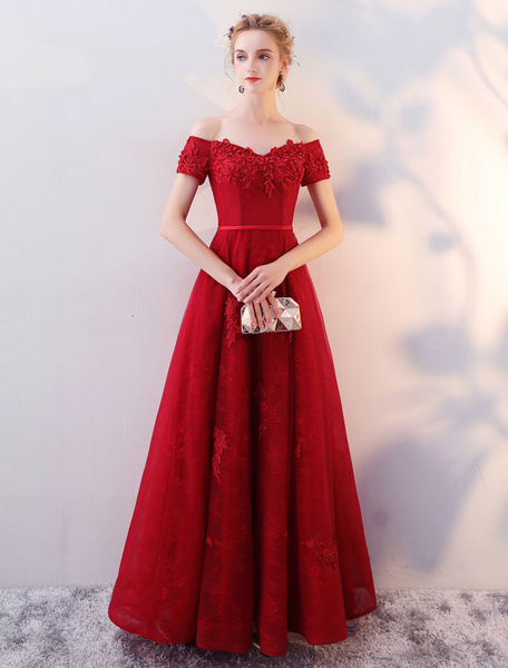 Milanoo Long Prom Dresses 2020 Off The Shoulder Evening Gown Lace Applique Beaded Burgundy Floor Length Formal Dress wedding guest dress