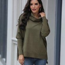 Pullover mit Rollkragen und Schlitz