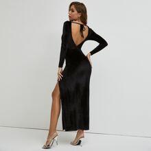 Tied Backless Split Thigh Velvet Dress