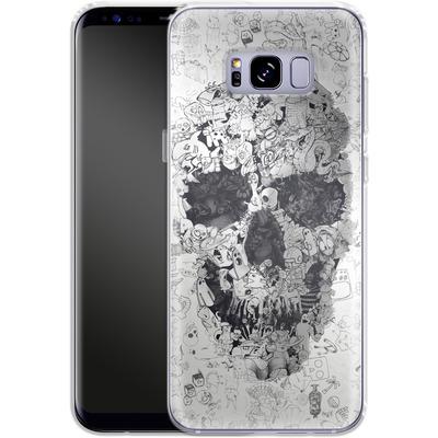 Samsung Galaxy S8 Plus Silikon Handyhuelle - Doodle Skull von Ali Gulec